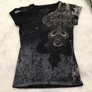 Xzavier Black & Gray Graphic Short Sleeve T-shirt